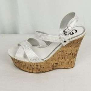 Guess White Strappy Sandals Wedge size 11